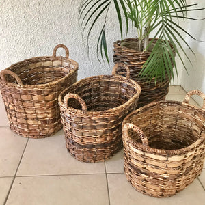 Set of 3 Oval Abaca Baskets