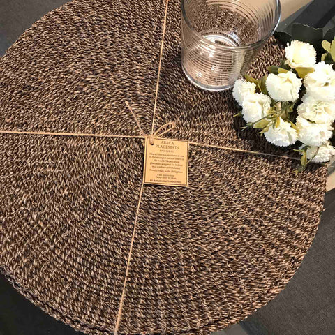 Set of 6 Round Brown Placemat