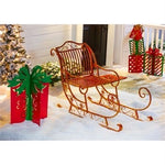 Red And Gold Metal Santa Sled