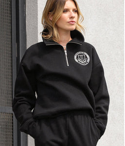 The Varsity Crest-half zip black