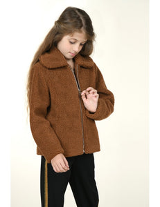 SHEARLING FAUX FUR JACKET