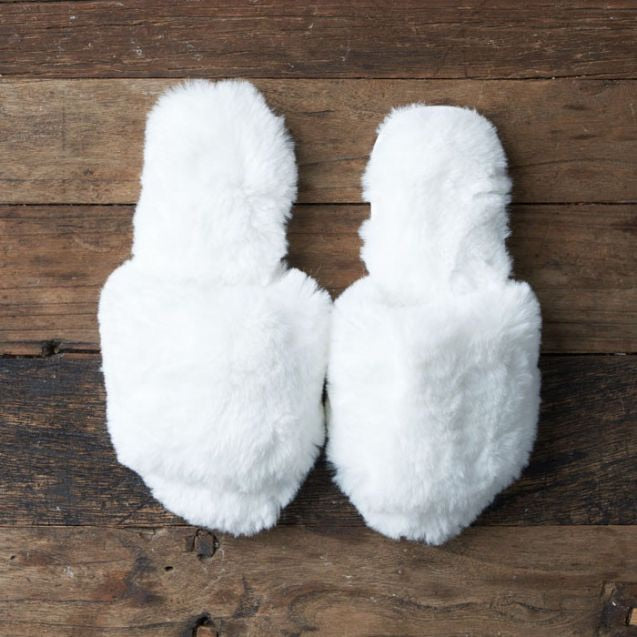 Morning Air Fur Slide - House Slipper - White-Bright