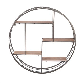 Wholesale Round Metal Wall Display with Wood Shelves