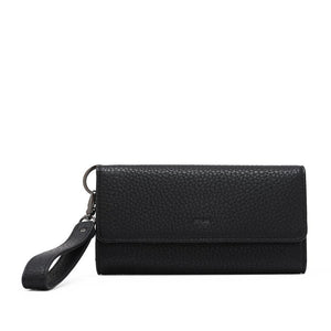 PEBBLE TRI-FOLD WRISTLET WALLET - Black