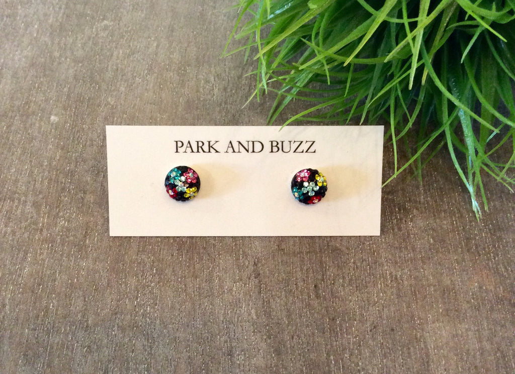 Black studs with flowers