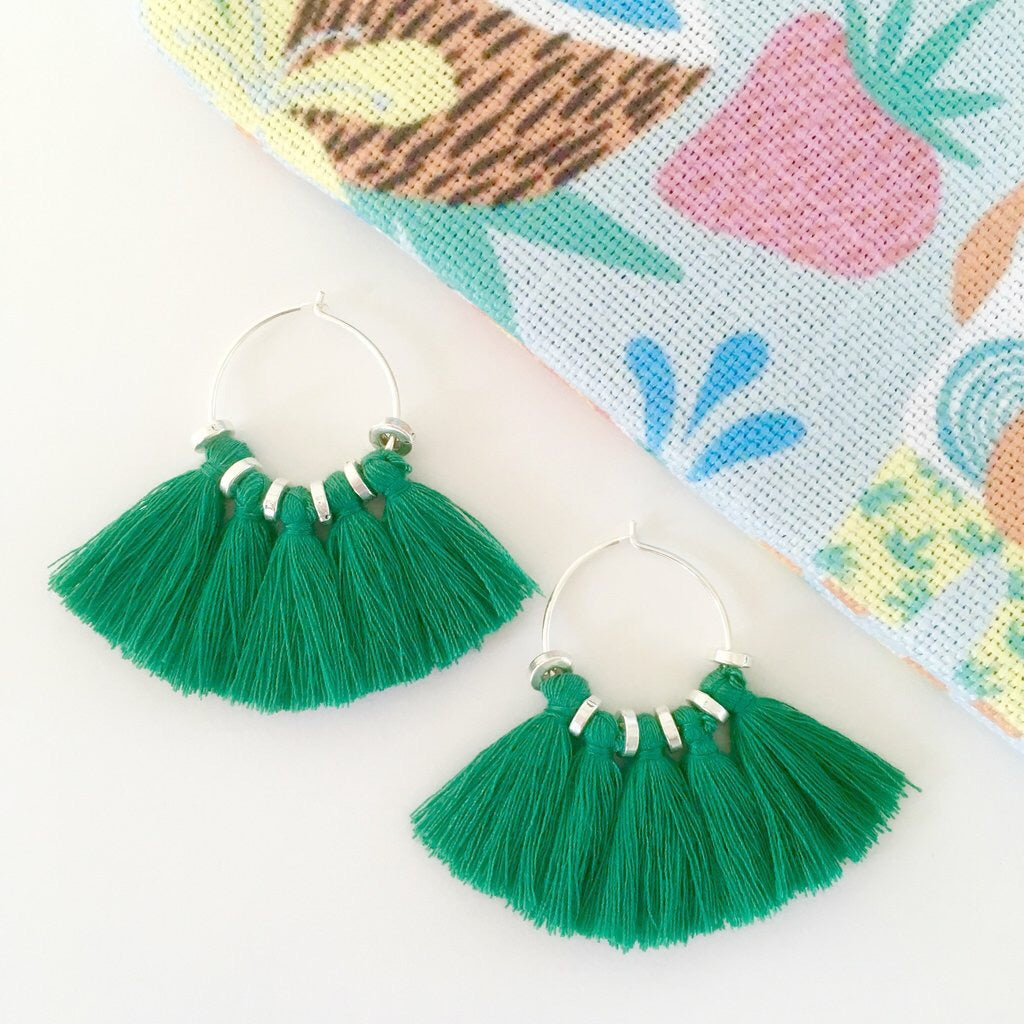Fresh green Tassel Hoop Earring
