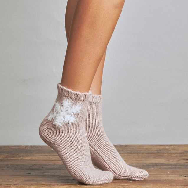 Fuzzy Snowflake Ski Sock - Buff One Size