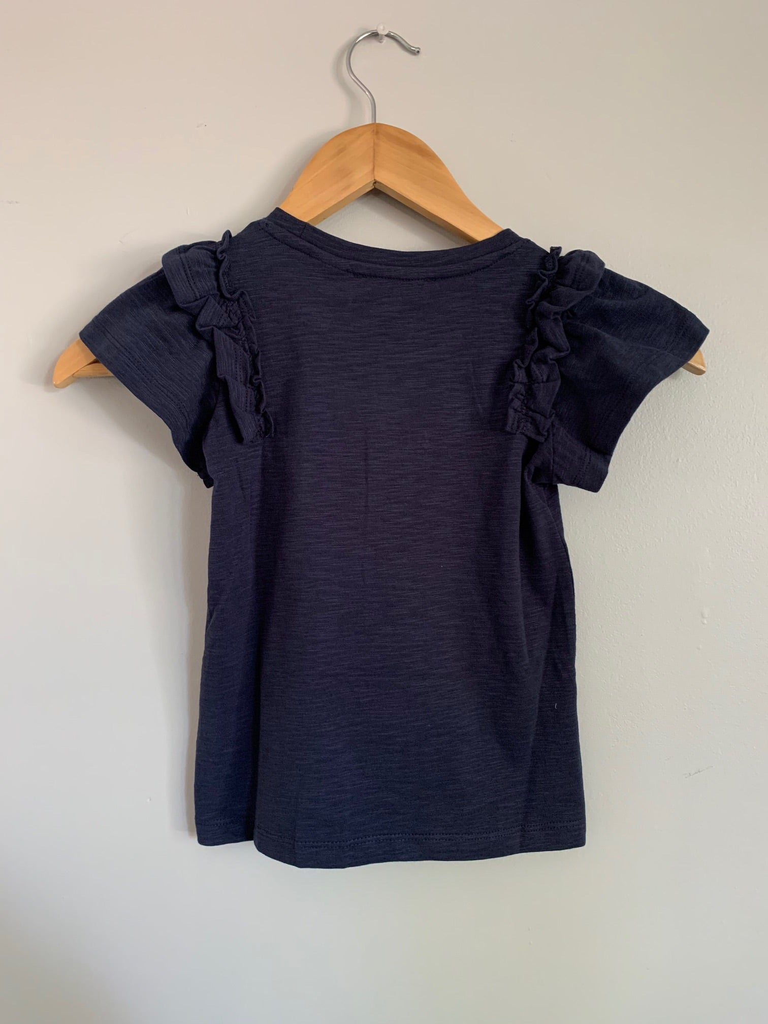 Navy tee with ruffles