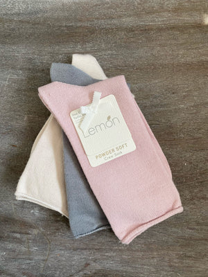 3 Pack Powder Soft Crew Sock