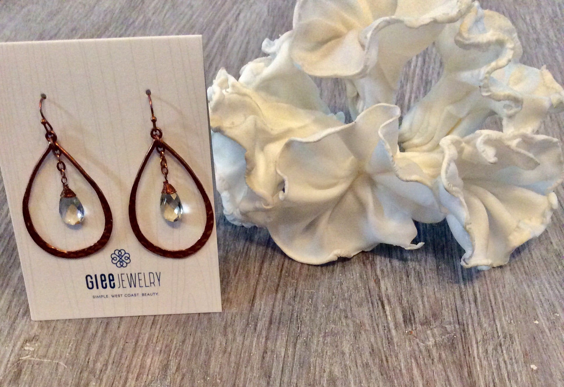 Rusty Rose gold drop earrings with diamond