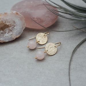 EVA EARRINGS-ROSE QUARTZ
