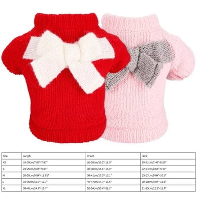 Pull pour chihuahua en laine rose ou rouge