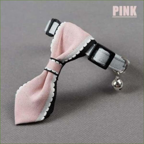 Collier de chat noeud papillon chic et stylé doux Oxford - Pink-PEPERE SHOP
