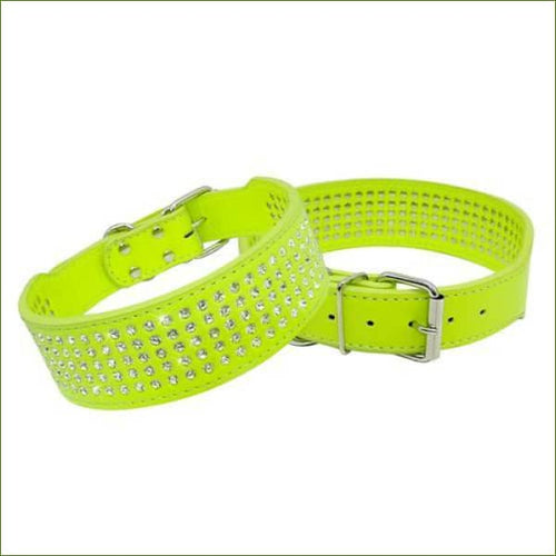 Collier en cuir bling bling, avec strass - Lime green / XS-PEPERE SHOP