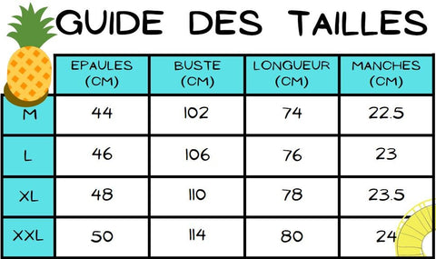 Guide des tailles chemise ananas jaune