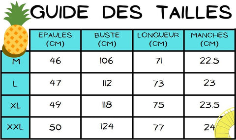 Guide des tailles chemise ananas turquoise