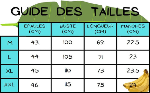 Guide des taille chemise banane hawaienne