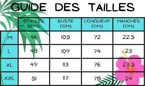 Guide des tailles chemise hawaienne rouge funny party