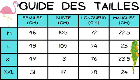 Guide des tailles chemise night club