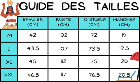 Guide des tailles chemise tahitienne bleue manava