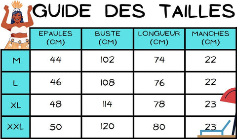 Guide des tailles chemise tahitienne rouge