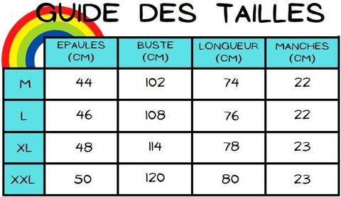 Guide des tailles chemise ecarlate azuree
