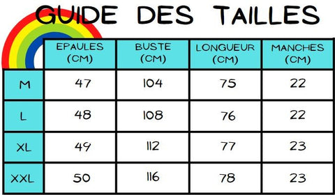 guide des tailles chemise painting blanche