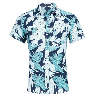 chemise hawaienne tropical blue