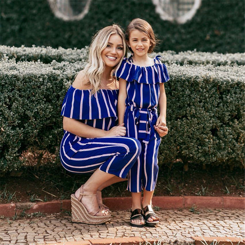 Mother & Daughter Striped Romper