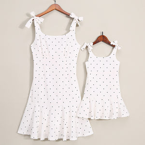Mother & Daughter Black Dot Dress