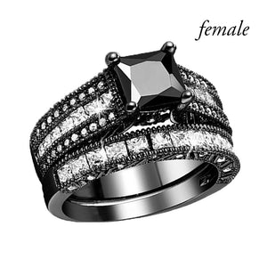 Black Couples Charm Rings