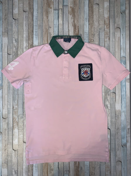 Polo Ralph Lauren Pink Crest Polo Shirt Size L (14-16) - Nippers Preloved children's clothing