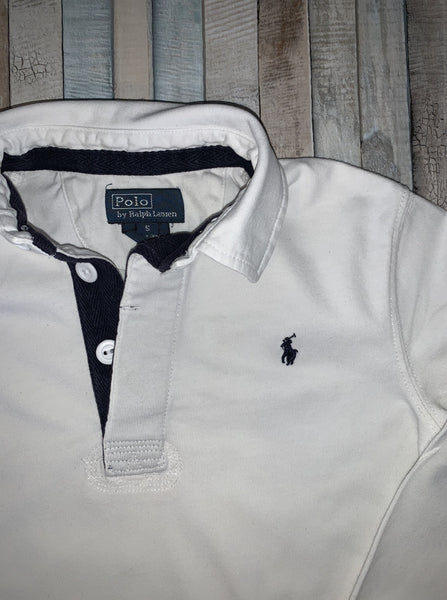 Polo Ralph Lauren White Rugby Shirt Age 5 - Nippers Preloved children's clothing
