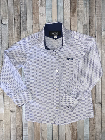 Hugo Boss Shirt White With Blue Pattern Age 4/5 - Nippers Preloved children's clothing