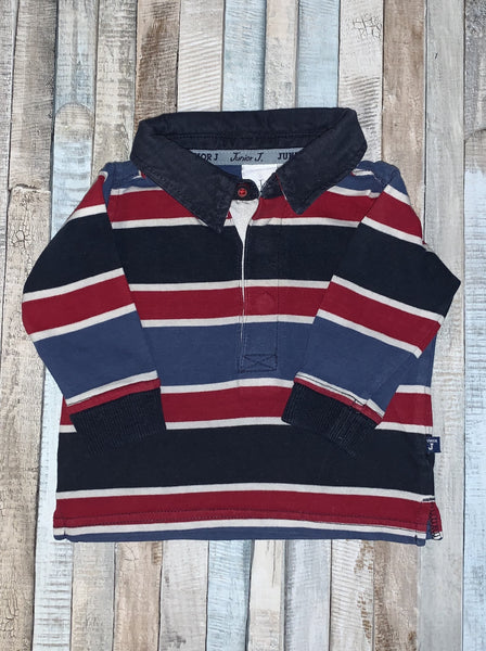 Jasper Conran Junior J Rugby Shirt Blue/Red/White Stripes 0-3 Months - Nippers Preloved children's clothing