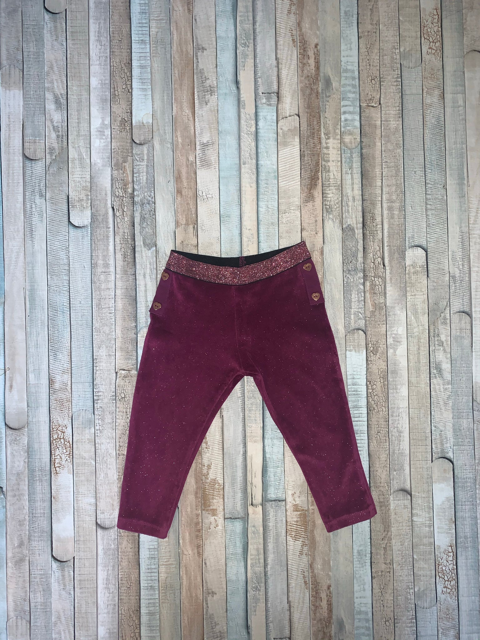 Baker by Ted Baker Purple Sparkle Leggings Age 9-12 Months - Nippers Preloved children's clothing