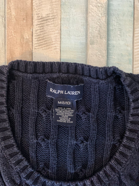 Ralph Lauren Cable Knit Blue Dress M (8/10) - Nippers Preloved children's clothing