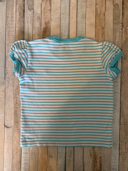 Ralph Lauren Turquoise/White stripe T shirt Age 4T - Nippers Preloved children's clothing