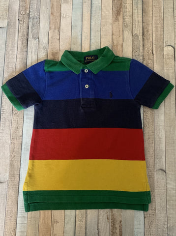 Polo Ralph Lauren Multi Colour Stripe Polo Shirt Age 2/2T - Nippers Preloved children's clothing