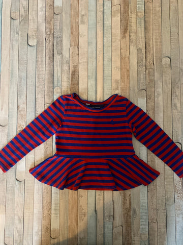 Ralph Lauren Red & Blue Striped Top Age 2/2T - Nippers Preloved children's clothing