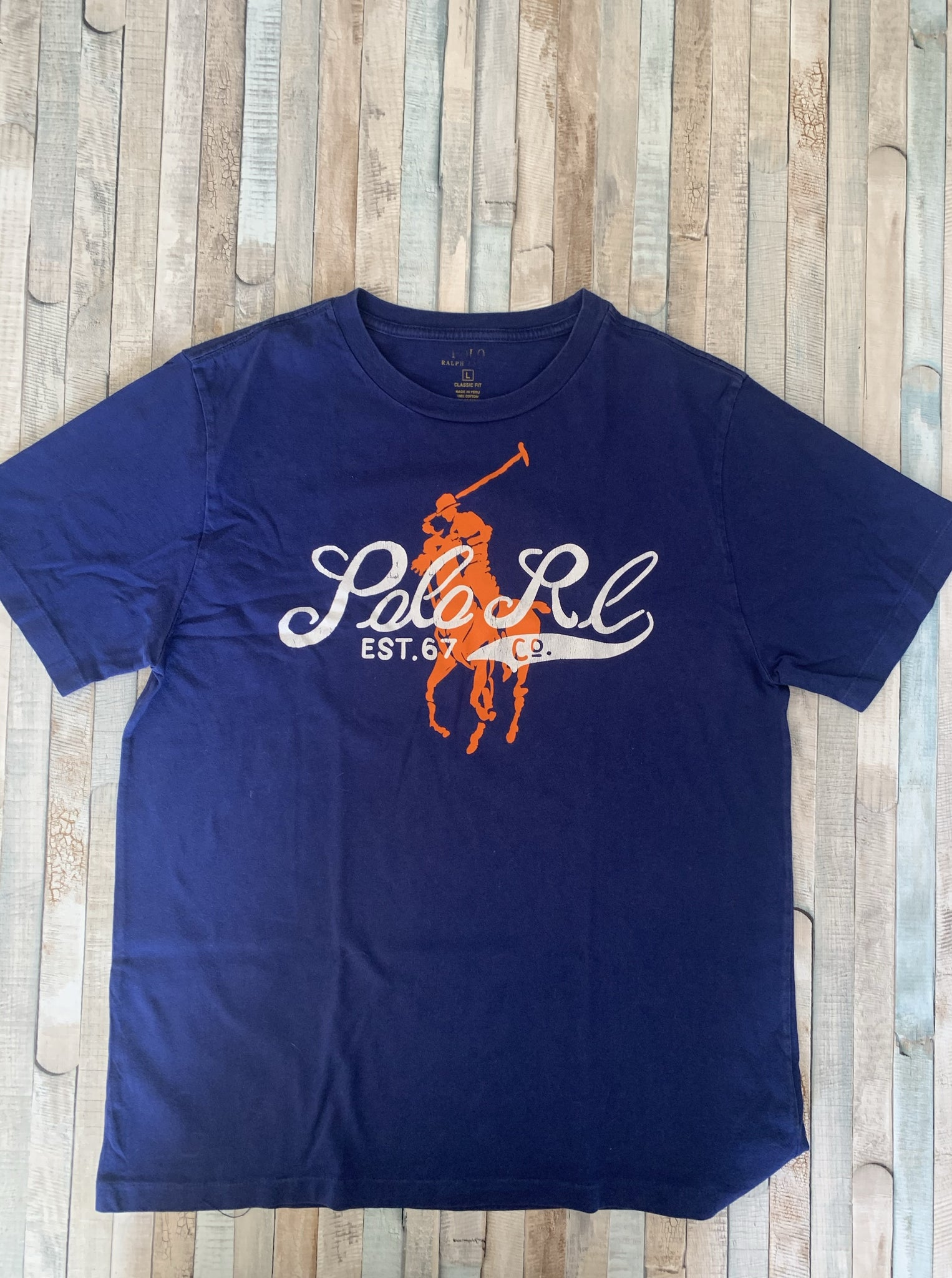 Polo Ralph Lauren Blue With Orange Big Pony T Shirt L (14-16) - Nippers Preloved children's clothing