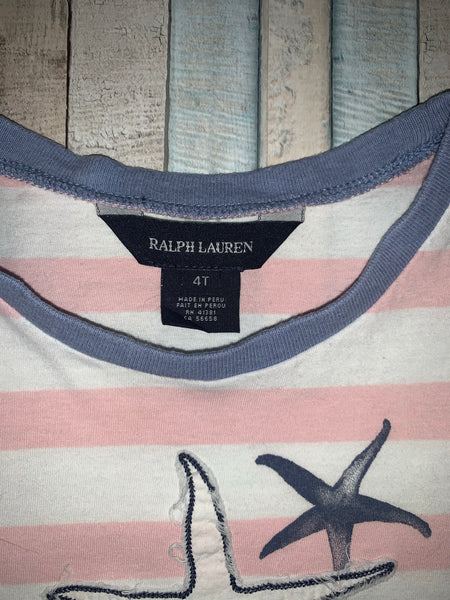 Ralph Lauren Starfish Pink/White T Shirt Age 4T - Nippers Preloved children's clothing