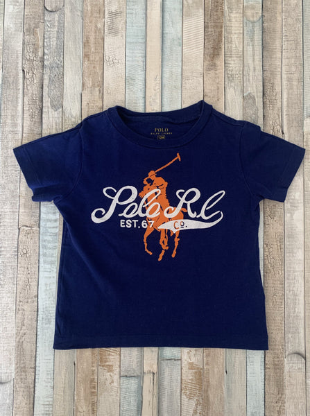 Polo Ralph Lauren Blue With Orange Big Pony T Shirt 12 Months - Nippers Preloved children's clothing