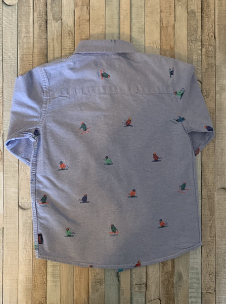 Baker by Ted Baker Blue Shirt Skiing Penguin Design Age 4-5 - Nippers Preloved children's clothing