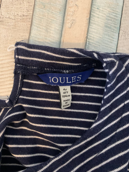 Joules Blue Stripe & Pink Autumn Leaves Dress Age 4 - Nippers Preloved children's clothing