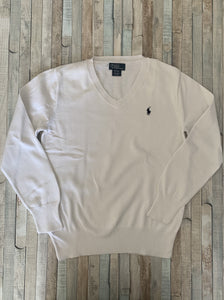 Polo Ralph Lauren White Cotton Sweatshirt  M(10-12) - Nippers Preloved children's clothing