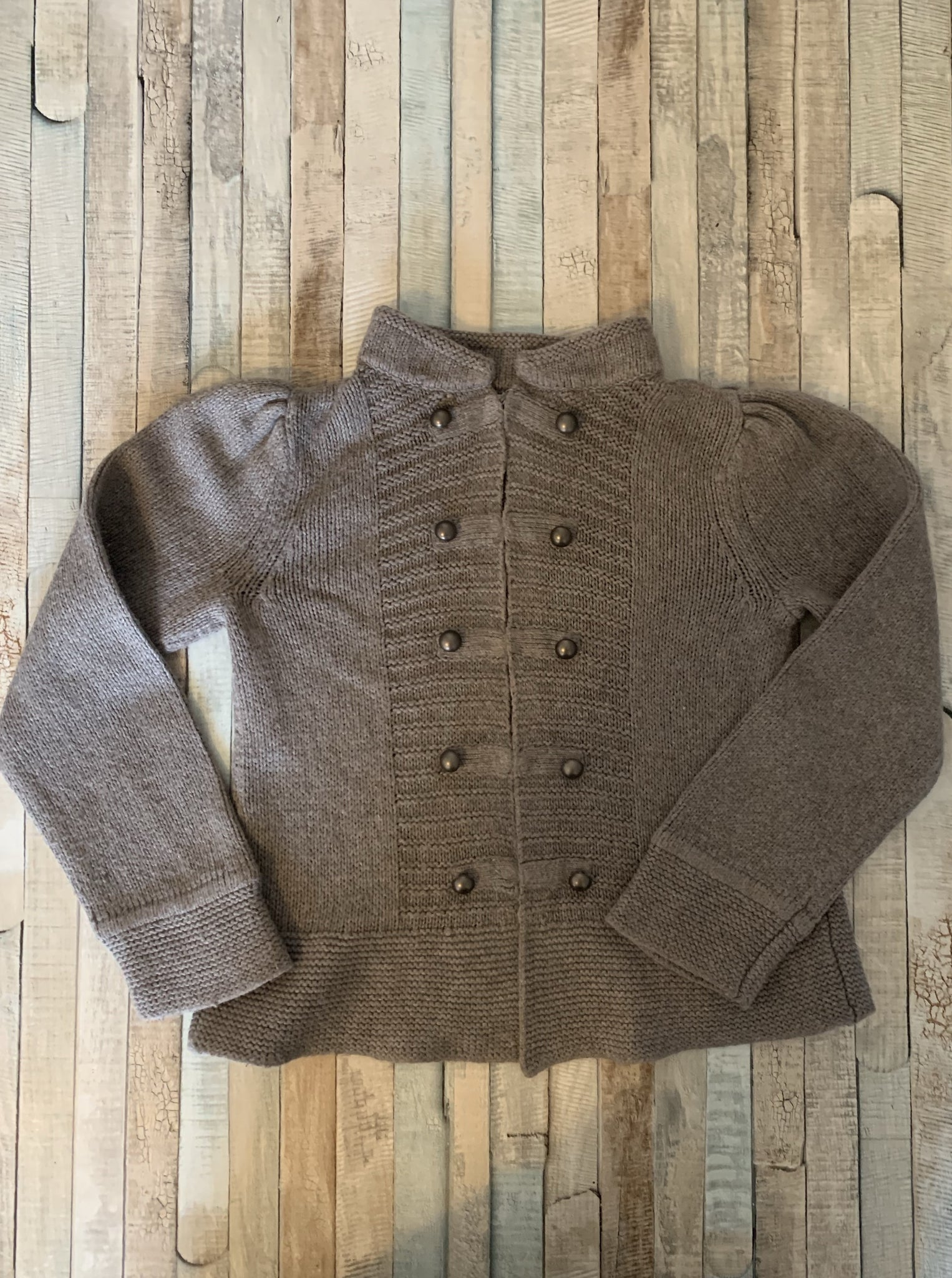 Monsoon Grey Wool Cardigan Age 6-8 - Nippers Preloved children's clothing