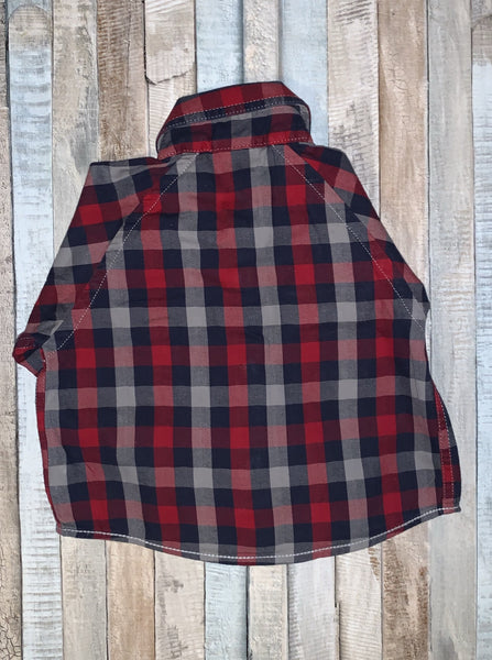 Ted Baker Red Check Shirt 0-3 Months - Nippers Preloved children's clothing