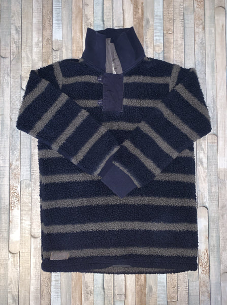 Joules Blue/Grey Stripe Fleece 9-10 Years - Nippers Preloved children's clothing