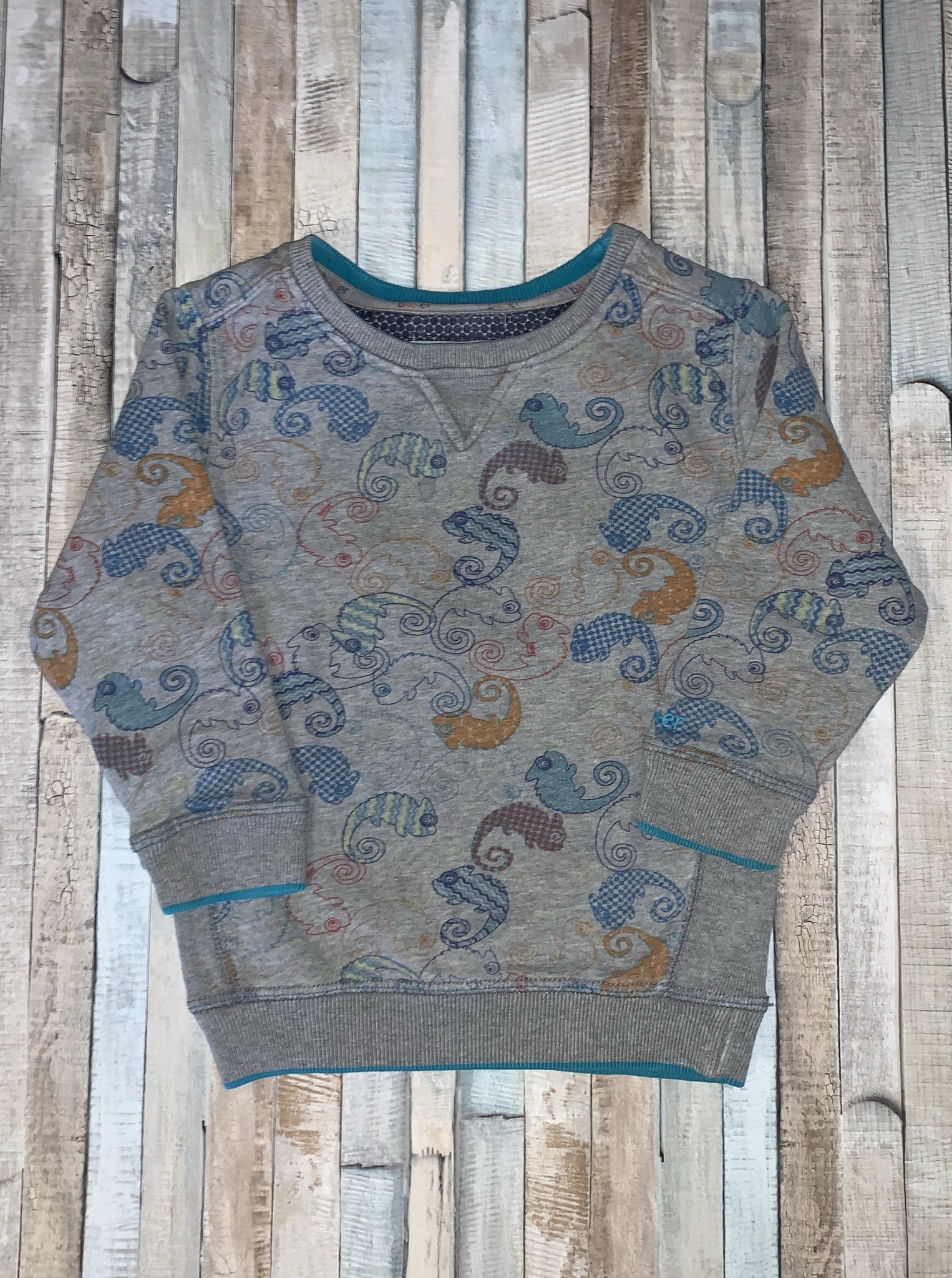 Ted Baker Chameleon Sweatshirt Grey 2-3 Years - Nippers Preloved children's clothing